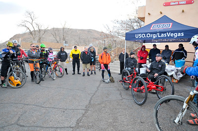 Participants ride the trails of Blue Diamond during the 2016 Ride 2 Recovery Las Vegas MTB Ride. As a 501(c)(3) organization, R2R helps injured active duty service members, veterans and first responders improve their health and wellness through individual and group cycling.