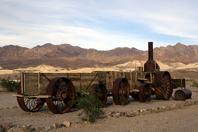 """""""Old Dinah""""  A steam tractor that was used to haul borax and replaced the twenty mule teams.  The tractor was later replaced by a railroad and left abandoned in the valley."""