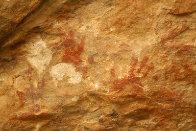 Hand print pictographs