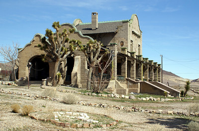 Las Vegas & Tonopah depot constructed in 1907 and used until 1918.  There were two depots in Rhyolite during the heyday.  This is the only one left standing.