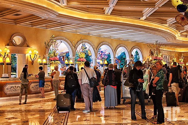 Tourists in the Bellagio hotel lobby , decorated for spring - Las Vegas in 2014  (ZZ) http://vegasgreatattractions.com/bellagio-botanical-garden-spring-2014/