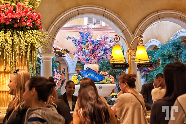 Tourists in the Bellagio hotel lobby , decorated for spring - Las Vegas in 2014 http://vegasgreatattractions.com/bellagio-botanical-garden-spring-2014/