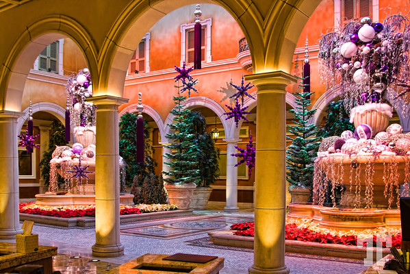 Winter theme at Bellagio hotel, Las Vegas.  This Italian villa-like look is the background of the front desk of the Bellagio hotel and it changes its decorations every season.