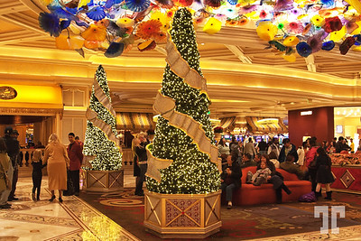 Bellagio hotel lobby, full of people for winter holidays