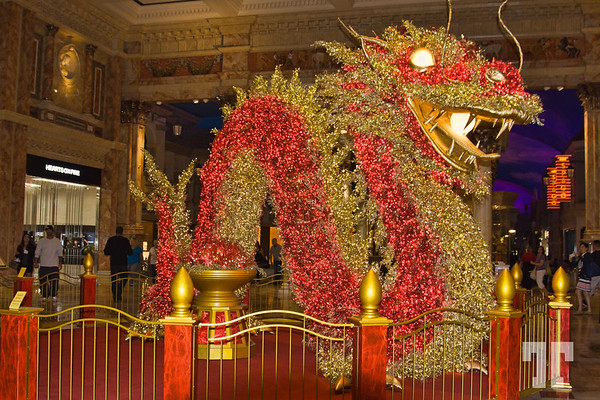 Huge Chinese Dragon displayed at Caesars Palace Forum Shops, Las Vegas for the Chinese New Year Celebration