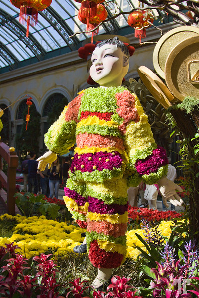 Chinese kid made out of fresh cut flowers at the Chinese New Year of the Monkey 2016 celebration - Bellagio Gardens and Conservatory, Las Vegas #ChineseNewYearLasVegas #BellagioLasVegas