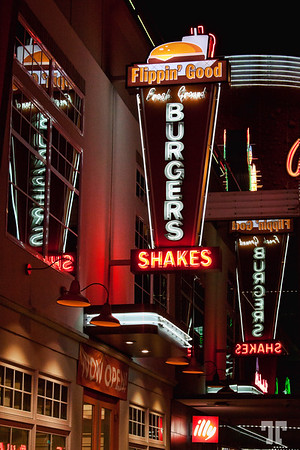 Fremont Street, Las Vegas Flippin' Good Burgers - neon sign with reflections on Fremont Street, Las Vegas (ss, zz)