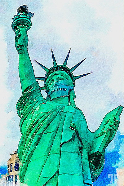 statue-of-liberty-w-mask-watercolor