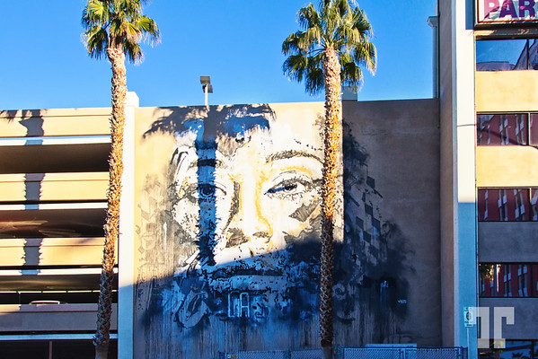 Mural art downtown Las Vegas on the side of the parking building of El Cortez hotel