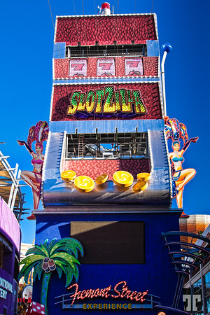 Slotzilla zip line sign and tower on Fremont Street Experience, downtown Las Vegas