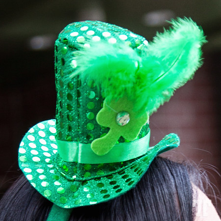 Green hat at O'Sheas Irish pub on St.Patrick's Day in Las Vegas at Linq Promenade