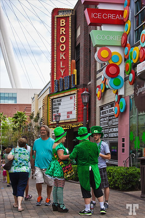 People wearing green at the Linq Promenade on St.Patrick.s Day Las Vegas
