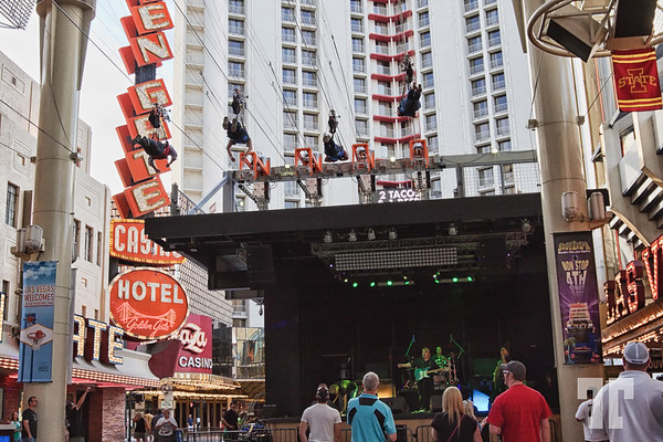 Slotzilla Zipline over the show stage on Fremont Street Experience