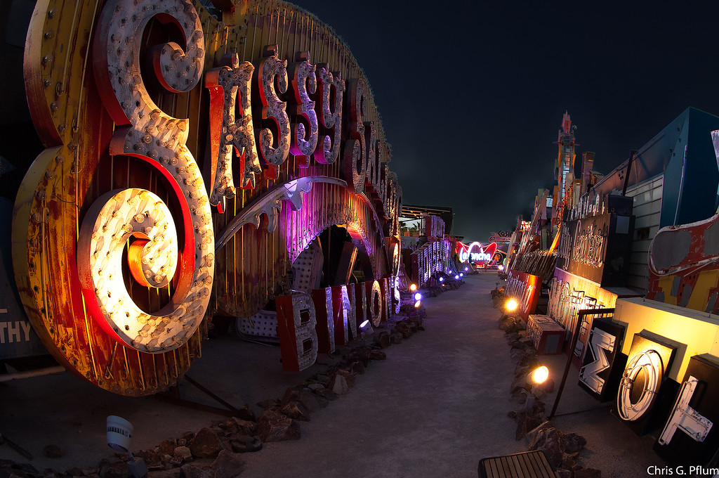 The Neon Museum, Las Vegas,  displays more than 100 signs from 180 properties.