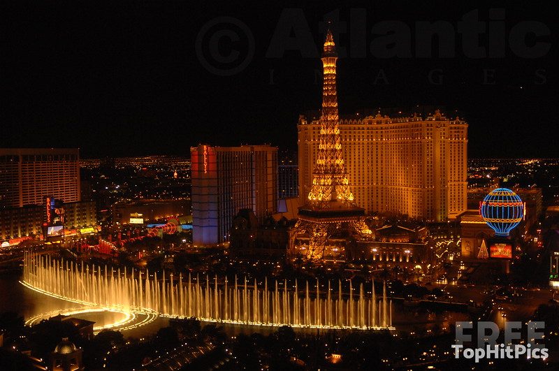 The Paris Hotel with The Belagio Fountains in Las Vegas, Nevada