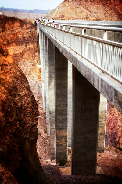 The concrete bridge spanning the Colorado river just a few hundred meters South of Hoover dam, and much higher.