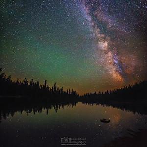 """Mirror Mirror,"" Summit Lake Milky Way Reflections, Summit Lake, Lassen Volcanic National Park, California"