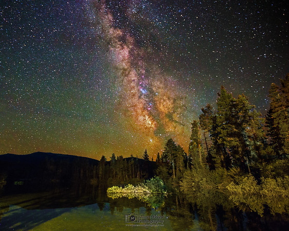 """""""Forest Reflections,"""" the Milky Way over night reflections on Manzanita Lake, Lassen Volcanic National Park, California"""