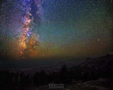 """Broken Core,"" The Milky Way over Brokeoff Mountian and Mount Diller, Lassen Volcanic National Park, California"