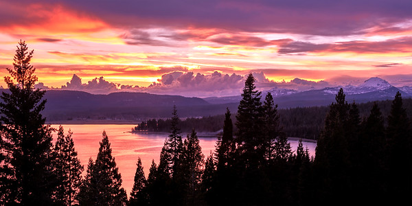 Lassen and Lake Almanor at Sunset, Plumas County, CA
