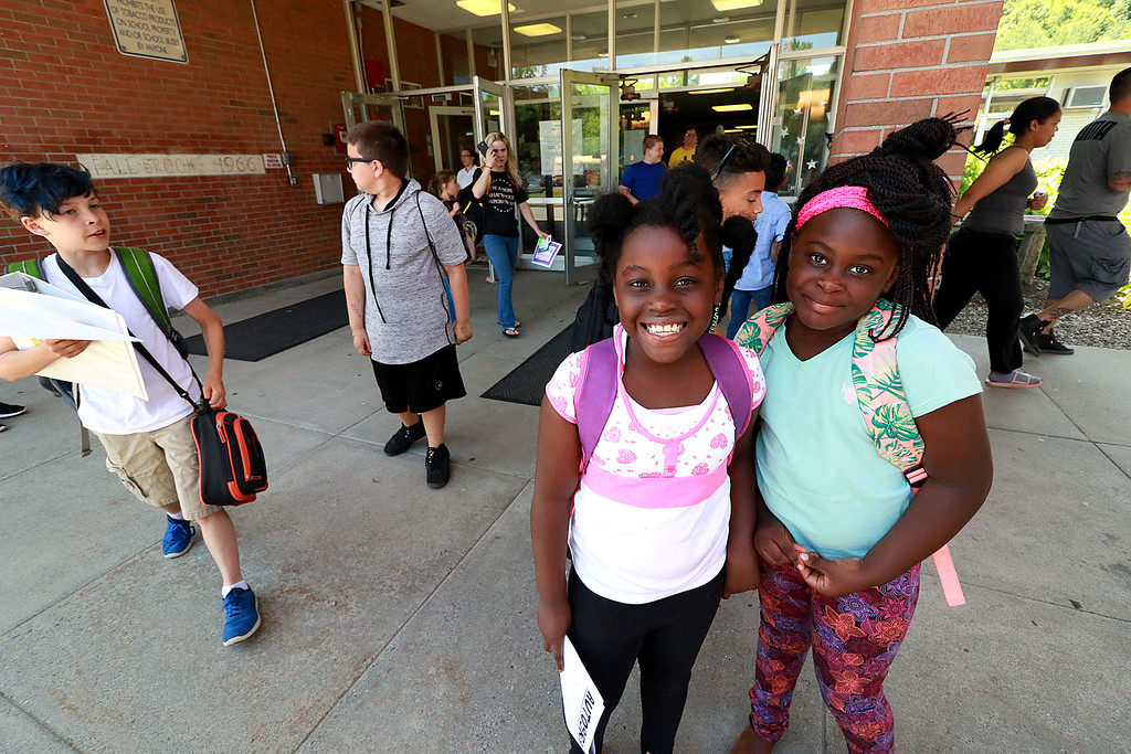 . The last day of school in Leominster was Thursday, June 22, 2018. many of the students had big smiles on their faces as they made their way to their buses at Fall Brook Elementary School on the last day. SENTINEL & ENTERPRISE/JOHN LOVE