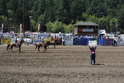 "The loud crowd barely needed to be told by this rodeo clown still directed it to ""cheer"" and ""screem"" on Sunday during the bareback riding event of the 96th Fortuna Rodeo. (Hunter Cresswell -- The Times-Standard)"