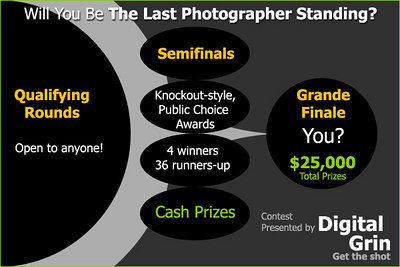 Starting on March 5th, 2007 - Dgrin Presents the World's Best Photographer contest. With over $25,000 (USD) in prizes, this is going to change the face of photography contests! Read all the details on the forum, click here.  Can you Digg it?