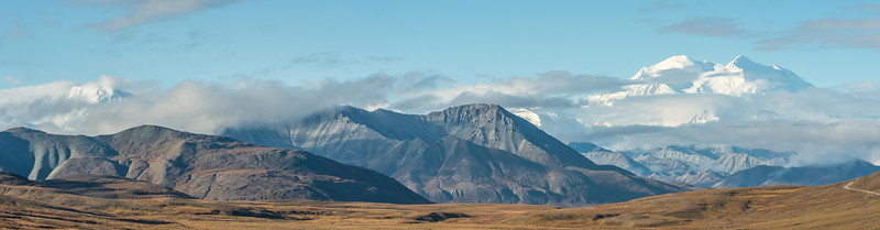 A stitch of four photos of Mount Denali and its foothills.
