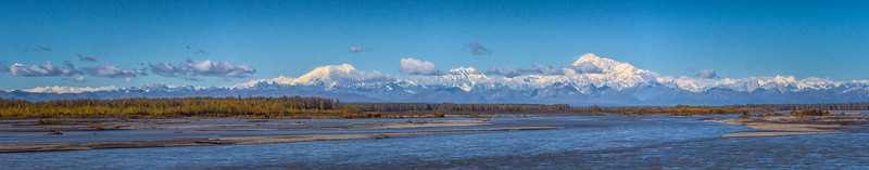 Mount Denali and the Denali range, as taken from the train platform (a stitch of nine photos).