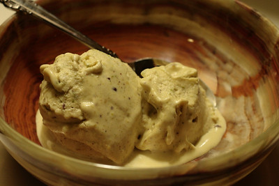 October 23, 2009: Pistachio Cardamon Ice Cream, in a bowl.  Oh my goodness!  This was SO GOOD!  I had no idea cardamon would taste so good.  And the lack of almond and crunchy bits was a perfect fit.    I am having a hard time not spooning myself another bowl from the leftovers in the freezer.