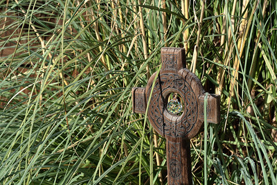 Oct. 29, 2009: This cross is in a corner by this grassy bush thing. I really liked it, and the sun was hitting it perfectly.
