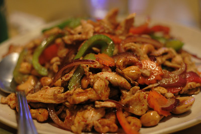 August 11, 2009:  We had Thai food.  This is my dinner, cashew chicken level 3 of 5 spicy.