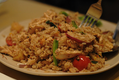 August 11, 2009: This is Sher's dinner, chicken fried rice (I believe), level 2 spicy.