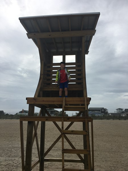 Enjoying the lifeguard stand without the crowds!