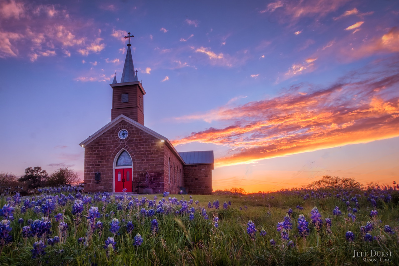 Catholic Church Bluebonnet Sunset