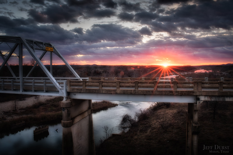 Llano River Bridge Stormy Sunset