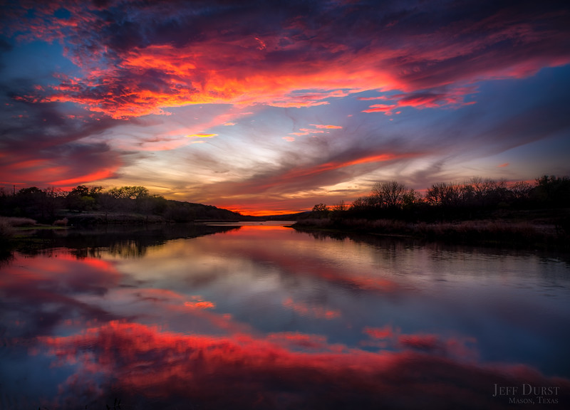 Llano River Flaming Sunset Reflection
