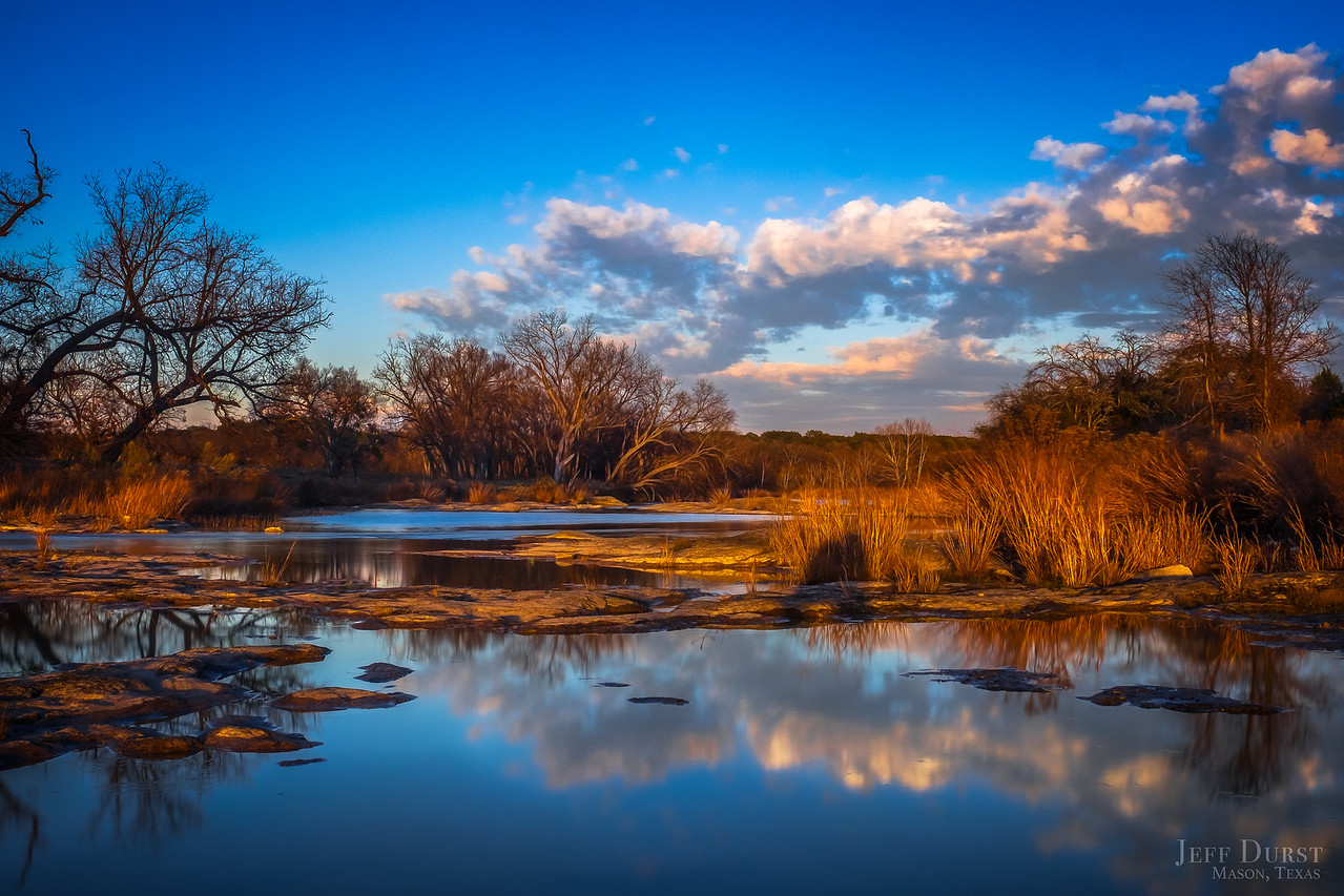 San Saba River Winter Sunset-2