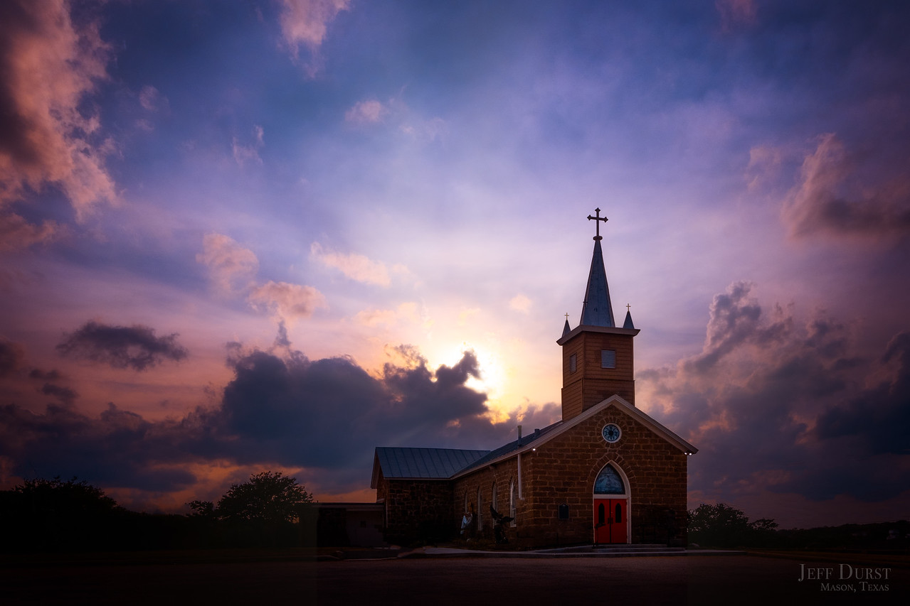 Catholic Church Blazing Sunset
