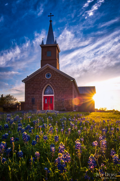 Catholic Church Bluebonnets Sunburst Portrait
