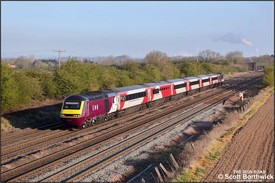 43274/43102 speed past Cossington whilst forming 1C15 0519 Leeds-London St Pancras International on 19/04/2021.