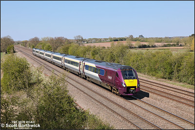 222004 passes Cossington whilst forming 1C50 1418 Sheffield-London St Pancras on 19/04/2021.