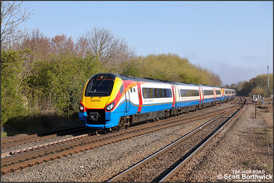 222102+222020 pass Syston whilst forming 1B21 0704 Lincoln-London St Pancras International on 19/04/2021.