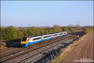 222023 passes Cossington whilst forming 1B14 0652 Nottingham-London St Pancras International on 19/04/2021.