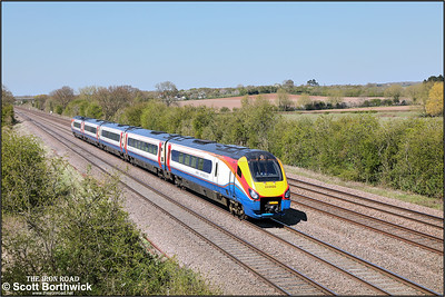 222020 passes Cossington whilst forming 1C47 1300 Sheffield-London St Pancras on 19/04/2021.
