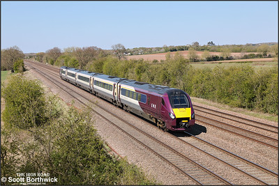 222009 passes Cossington whilst forming 1B48 1345 Nottingham-London St Pancras International on 19/04/2021.