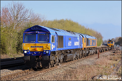 66727+66757 with 66703 on the rear top & tail 4L04 0722 Peterborough Virtual Quarry-Hams Hall at Syston on 19/04/2021.