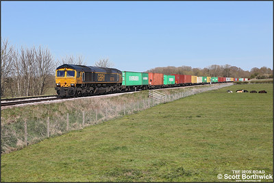 66749 passes Rearsby whilst working 4M29 1028 Felixstowe North-Birch Coppice on 22/04/2021.