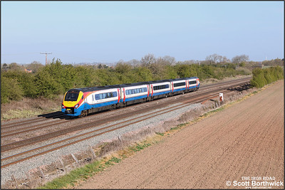 222023 passes Cossington whilst forming 1C22 0746 Sheffield-London St Pancras International on 22/04/2021.