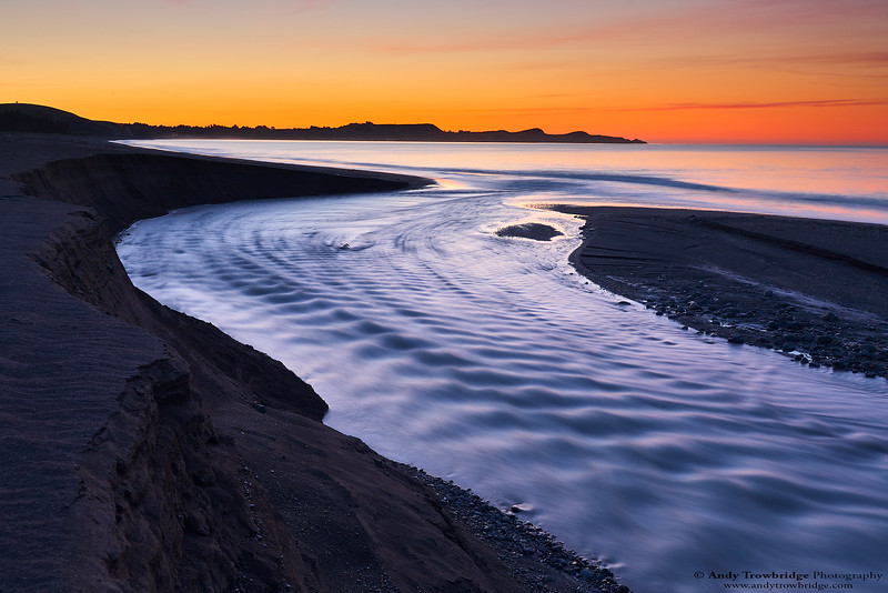 Kowhai River at sunset
